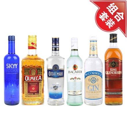 深蓝伏特加+旗舰伏特加700ml+格兰森威士忌+奥美加金龙舌兰+百加得超级朗姆酒+麦克美金酒