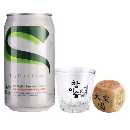 韩国海特超爽啤酒+真露烧酒杯+骰子