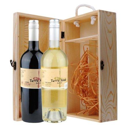 法国鲁顿黛瑞娜西拉干红+干白葡萄酒双支松木礼盒