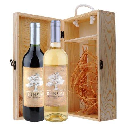 智利博赛赤霞珠梅洛红葡萄酒+长相思霞多丽白葡萄酒双支松木礼盒