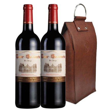 法国勃朗古堡干红葡萄酒双支皮袋装