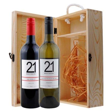 澳大利亚21兄弟美乐干红+长相思半干白葡萄酒双支松木礼盒