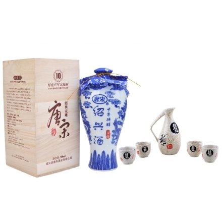 14°唐宋十年特醇木盒500ml+胜景干黄-仿古酒具