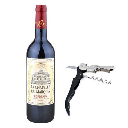 法国男爵小教堂波尔多2010干红葡萄酒+酒刀