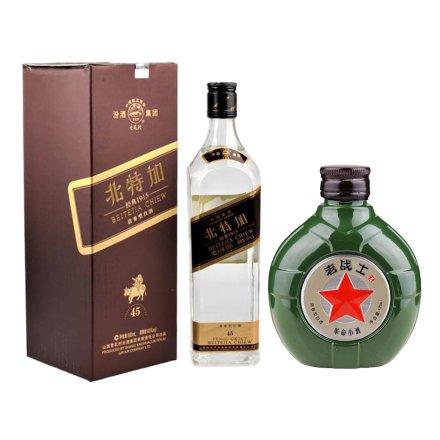 (清仓)45°北特加红方600ml +52°老战士革命小酒125ml