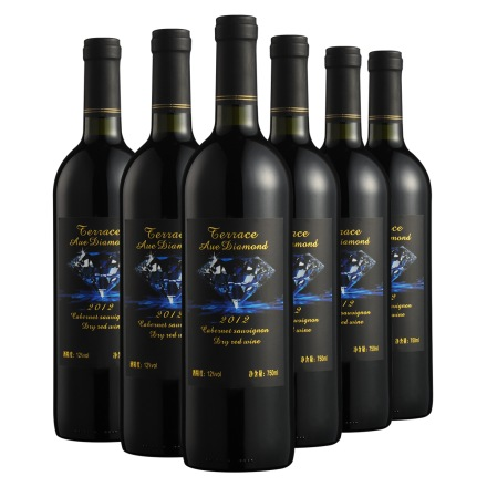 12°德洛斯蓝钻干红葡萄酒750ml(6瓶装)