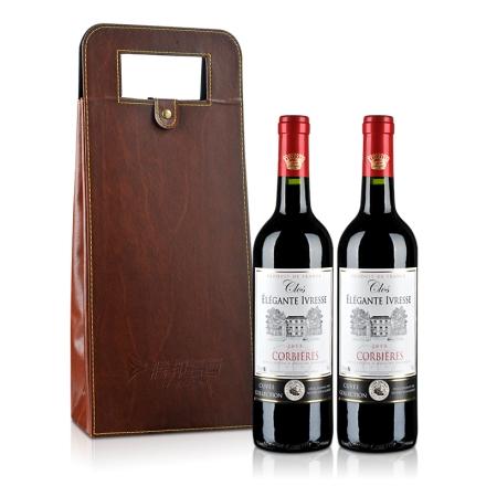 法国AOC克罗雅酒庄特酿干红双支皮盒套装750ml*2