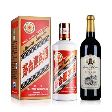 53°茅台迎宾酒500ml+法国AOC查尔斯科比埃法定产区红葡萄酒750ml