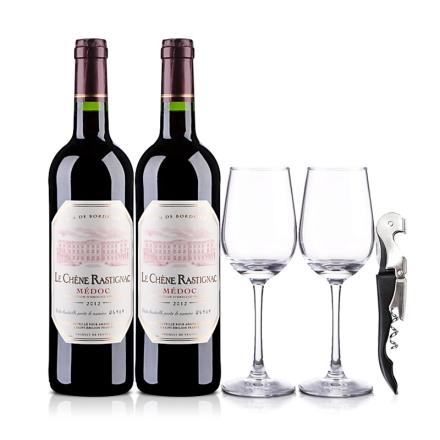 法国海蒂克梅多克干红葡萄酒750ml(双瓶装)+酒杯酒刀