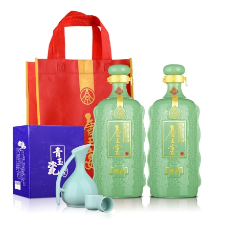 52°五粮液(股份)唐王宴珍品750ml(双瓶装)+唐王宴手提袋+青玉瓷酒具