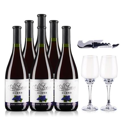 7°盛世夏都甜红葡萄酒750ml(6瓶装)+双支酒杯+酒刀