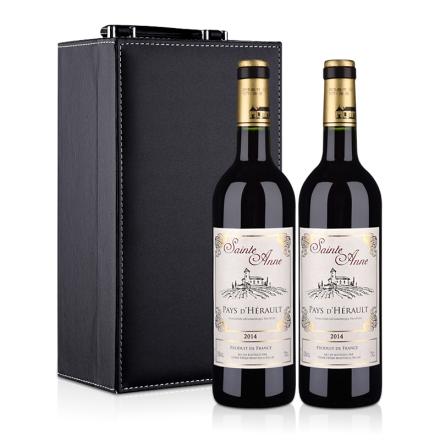 法国圣安娜2014干红葡萄酒750ml 双只皮盒装