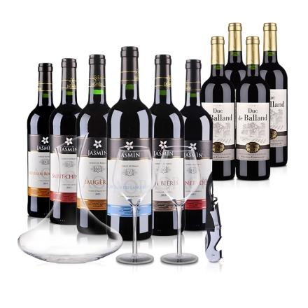 茉莉花系列法国AOP六大法定子产区大礼包+法国巴朗德公爵干红葡萄酒750ml(乐享)*4