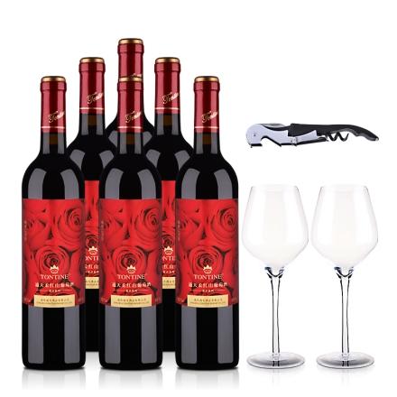 7°通天柔红山葡萄甜酒750ml(6瓶装)+2个酒杯+1把酒刀
