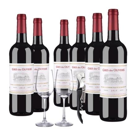 法国原瓶进口葛雷奥利干红葡萄酒750ml(6瓶套)酒杯酒刀