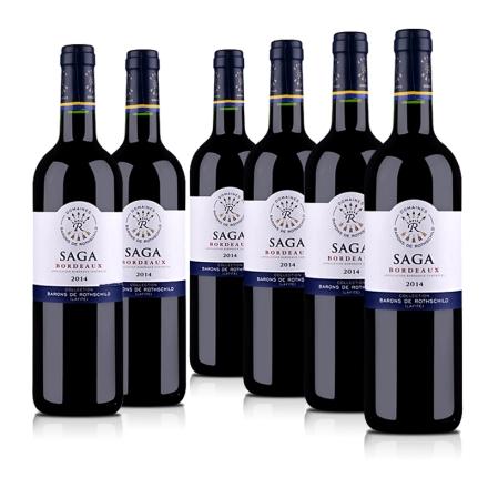 法国拉菲传说2014波尔多红葡萄酒750ml(6支装)