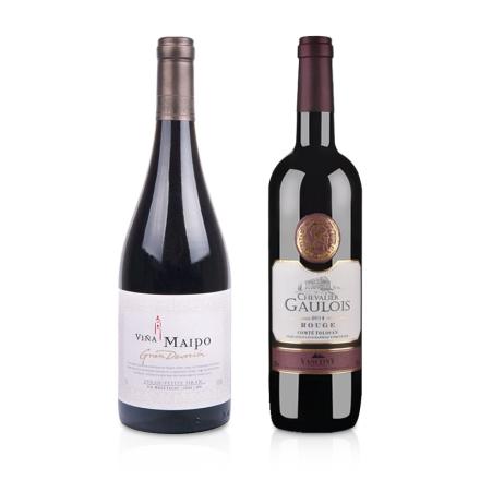 智利迈坡精品奉献系列西拉小西拉干红葡萄酒+法国高卢骑士干红葡萄酒